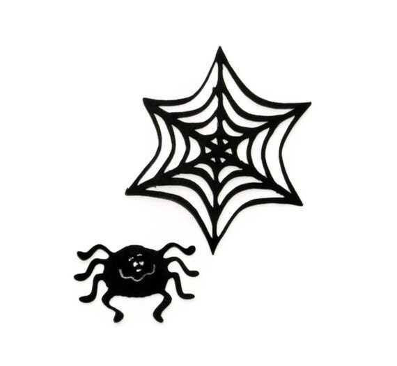 Spider and web die cut - 4 sets (3.5 in.) - you choose your colors and size (C28)