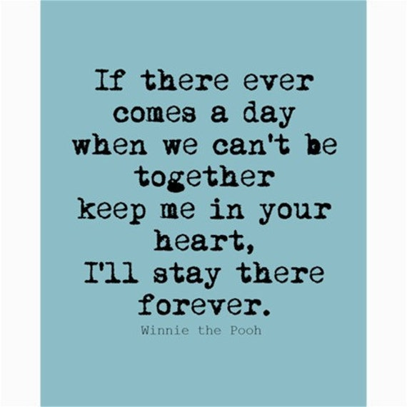 """Inspirational Quote Poster Print  - Winnie the Pooh - Blue 8x10"""""""