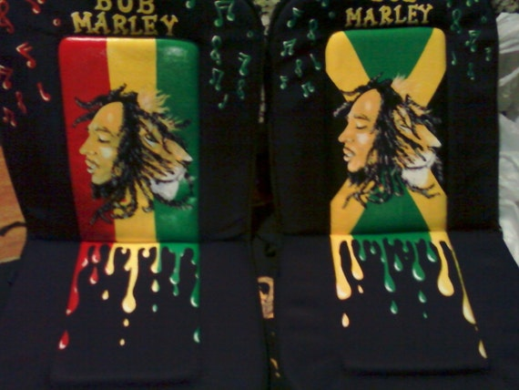 hand painted bob marley car cushions. Black Bedroom Furniture Sets. Home Design Ideas