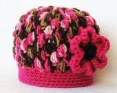 CROCHET PATTERN Zebra Puff Stitch Beanie (6 sizes from newborn-adult) Instant Download
