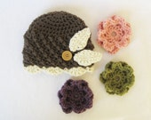 CROCHET PATTERN Interchangeable Beanie & Flowers (5 sizes included from newborn-adult) Instant Download