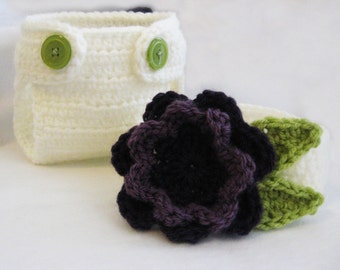 CROCHET PATTERN - Flower Diaper Cover & Headband - PDF instant download newborn baby girl photo prop photography