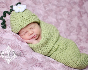 Baby CROCHET PATTERN Sweet Pea Beanie & Cocoon (2 sizes included from newborn-6 months) Instant Download