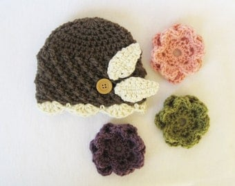 Beanie Crochet PATTERN - Interchangeable Beanie & Flowers - crochet hat baby girl kids adult crochet flowers PDF instant download
