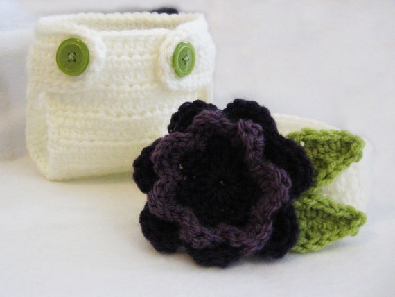 CROCHET PATTERN - Flower Diaper Cover & Headband - PDF instant download newborn baby girl photo prop photography