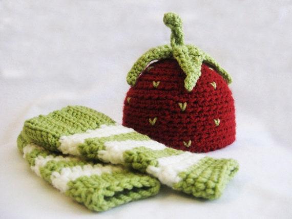 CROCHET PATTERN Strawberry Shortcake Beanie & Leg Warmers (4 sizes included) Instant Download