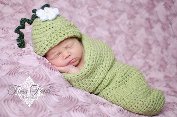 Baby CROCHET PATTERN - Sweet Pea Beanie & Cocoon - baby sleep sack baby hat crochet beanie newborn photo prop PDF pattern instant download