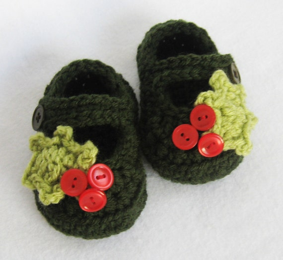 CROCHET PATTERN Holly Baby Shoes (5 sizes included from newborn-24 months) Instant Download