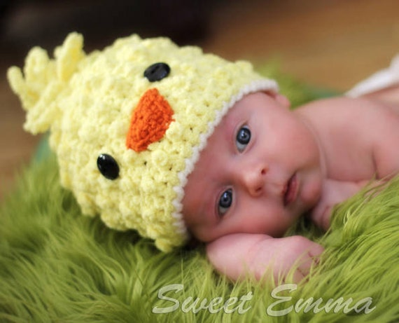 CROCHET PATTERN - Spring Chick Beanie with BONUS Hairbow Tutorial - (6 sizes included) Digital Download newborn baby hat photo prop