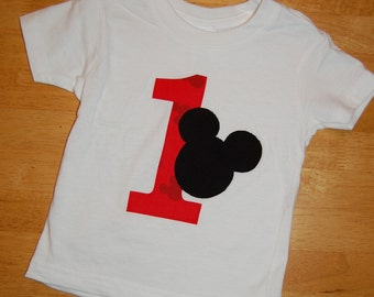Mickey Mouse first birthday tee in Red