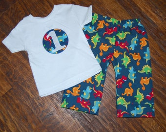 boys dinosaur pajamas with initial or number in a circle