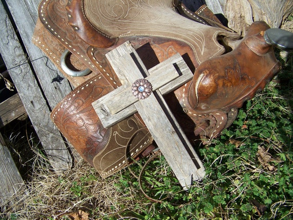 Aged Layered Wood Wall Cross, Cross with Concho, Unique one of a kind