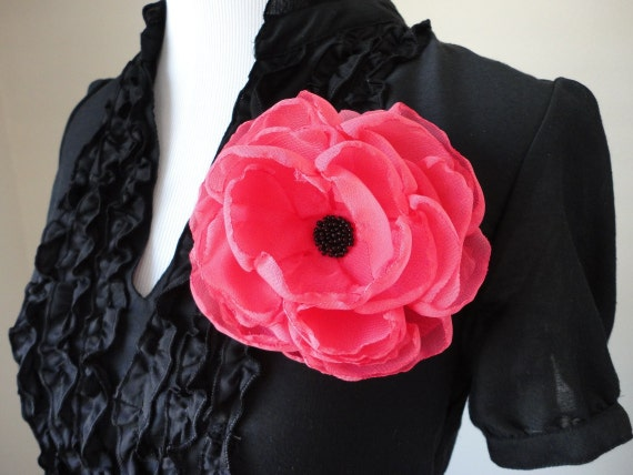 Flower brooch Pink flower Hair flower Flower clip Flower pin Bridal accessories Hot pink flower Accessories Prom Fabric flower Coral flower
