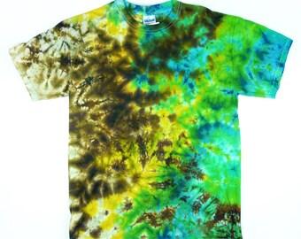 Adult Earthy Crunchy Forest Tie-Dye T-Shirt, Eco-friendly Dyeing
