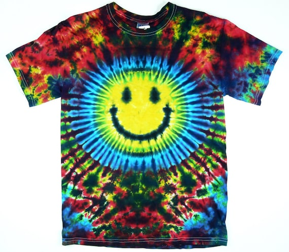 Tie Dye T Shirt, Adult, Smiley Face, Eco-friendly Dyeing