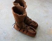 Made to Order Brown Alpaca Hand Felted Seamless Wool Boots/Slippers