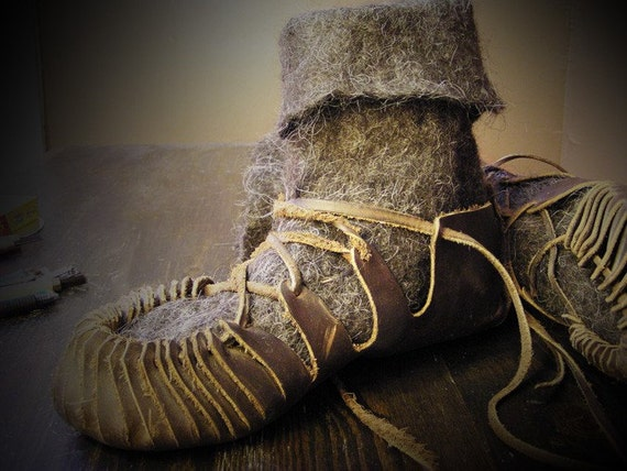 Reserved For Courtney //// Made to Order Gray Alpaca Hand Felted Boots