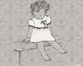 Nursery Art - INFANT - Printed illustration -baby girl cream dark grey on vintage light grey pattern
