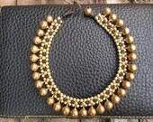Bracelet anklet/Gold brass beads & jingle bells/Thailand for Christmas gift