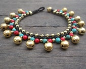 New Turquoise- red coral Bead gold brass Beads Bracelet summer gift for her/