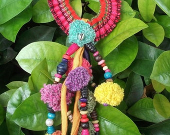 New year gift /Thai-Hmong Handmade Elastic Hair Band.Charm. Colorfulness with pom pom HB003