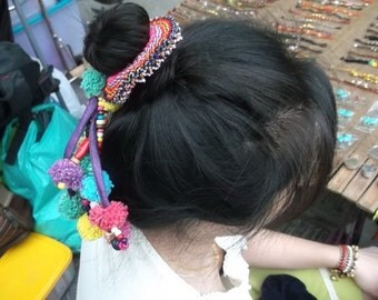 Thai-Hmong Elastic Hair Band.Charm. Colorfulness with pom pom HB002/Christmas gift /New year 2016/winter /summer /holidays /on vacation/love