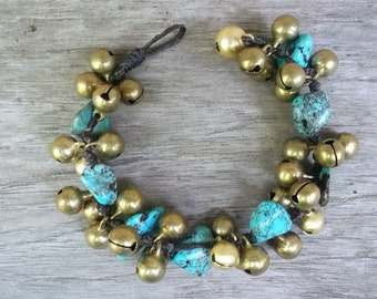 Thai bracelet handmade brass jingle bells-Turquoise BR008/Handmade jewelry/Handmade bracelet/Turquoise bracelet/Summer bracelet/blue/sea bra