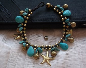Star mixed blue turquoise and lovely dolphin bracelet on Cyber Monday /black Friday /Christmas gift /New year 2017/winter/holidays