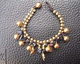 Thailand handmade bracelet nice jingle bells wax rope for spring/Charm bracelet/stone bracelet/Gold bracelet/gypsy bracelet/Hipster/Thanksgi