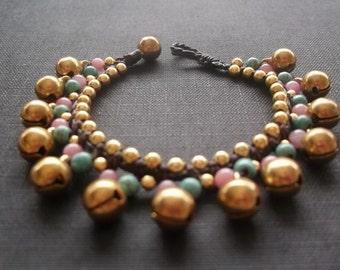 Thai handmade bracelet Turquoise-Tourmaline  ball  jingle bells gold brass