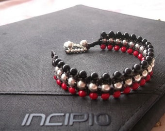 Charming silver beaded wrap bracelet red coral & Black Thailand handmade jewelry for him and hers on summer Gift/New collection on summer