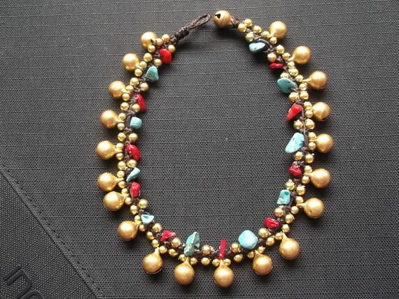 Thailand handmade jingle bells gold brass and blue  turquoise nugget shape fashion  Anklet/Christmas gift /new year 2016/valentines day/cute