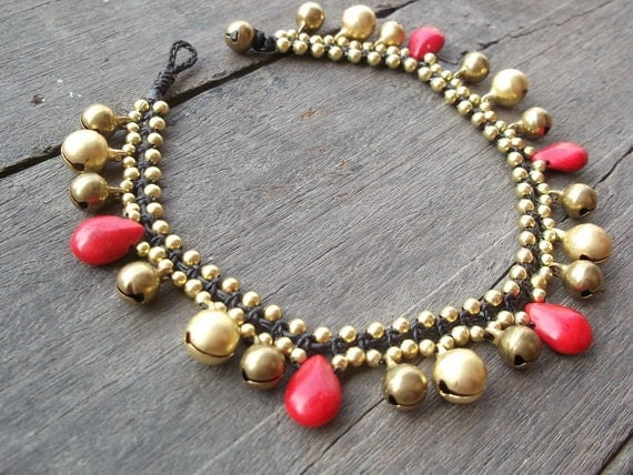 Thailand handmade jingle bells gold brass and red coral drop tear shape fashion  Anklet/Mother's gift /new year 2017/holiday /vacation /jew