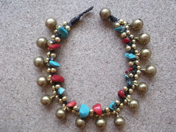 Summer gift sale,Thailand handmade bracelet,Red blue turquoise color jingle bells brass/Bells Bracelet/Charm bracelet/turquoise bracelet/art