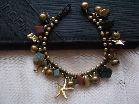 Thai handmade bracelet jade stone and cute brass pendant on summer gift