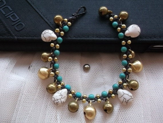 Blue turquoise Ball Stone brass bracelet new summer fashion/Thanksgiving gift idea/christmas gift for her/Hawaii bracelet/India jewelry/Thai