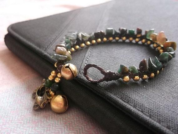 Jade nugget shape brass bracelet smooth spring collection 2014