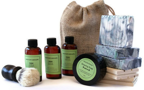 Mens All Natural Gift Set/ Soap/ Dish AfterShave/ Shaving Soap/Bag
