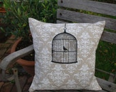 50% SALE - Cushion Cover With Screen Printed Bird Cage on Wallpaper Background