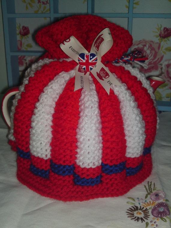 Jubilee celebratory Tea pot cosy/cozy hand knitted.