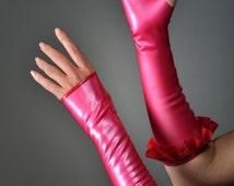 Long Latex Fingerless Gloves Gauntlets