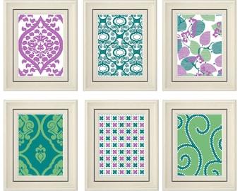 Set of Six Modern Purple/Green Wall Art- Print Set - Home Decor (Unframed)
