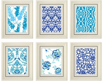 Set of Six Modern Blue/Navy Blue Wall Art - Print Set - Home Decor (Unframed)