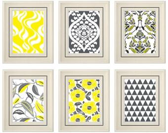 Set of Six Modern Yellow/Gray Art Print (Unframed)