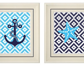 Set of Two Modern Blue Marine Print (Unframed)