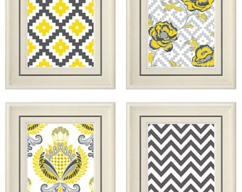 Set of Four Modern Yellow/Gray Art Print (Unframed)