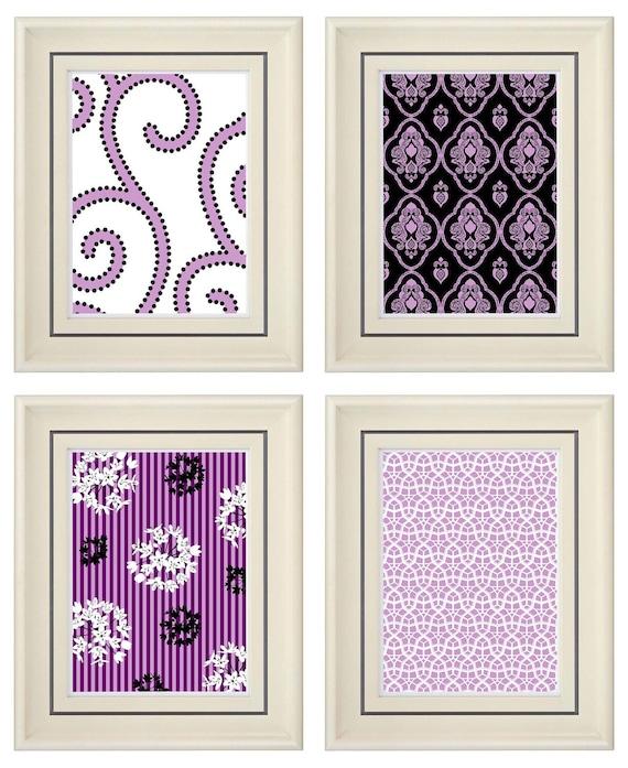 Set of Four Modern Purple Wall Art- Print Set - Home Decor (Unframed)