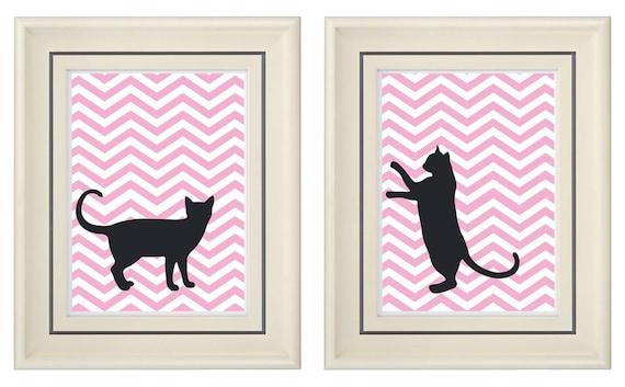 Set of Two Modern Pink Cat Art Print (Unframed)