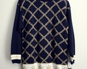 5  DOLLAR SALE..  80's Vintage Norton McNaughton Oversized sparkly Nautical Sweater
