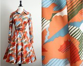 Vintage 60s Orange Op Art Fall Dress. Size M/L